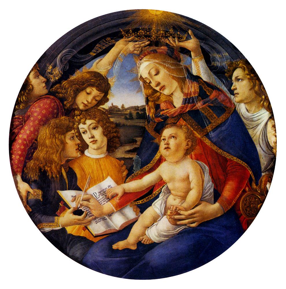 La Madonna del Magnificat (Madonna con il Bambino e cinque angeli) di Sandro Botticelli, tempera su tavola (diametro cm.118) di Sandro Botticelli, 1481 circa - conservato nella Galleria degli Uffizi di Firenze