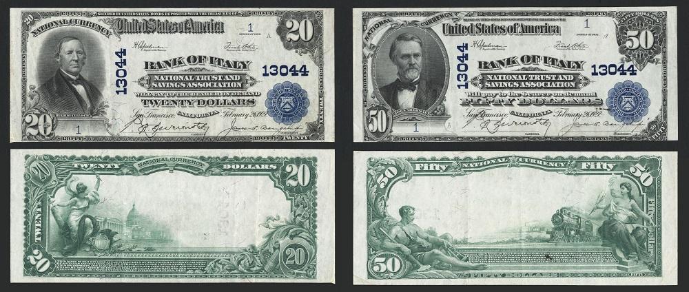 Altri due esemplari eccezionali: i 20 e 50 dollari del 1927, numero 1, della Bank of Italy