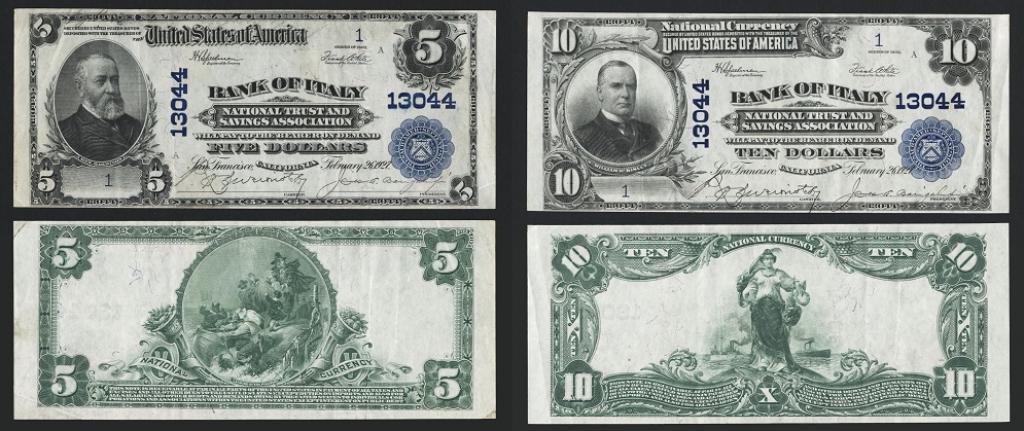 I biglietti numero 1 da 5 e 10 dollari della serie di banconote emesse dalla Bakn of Italy di Giannini nel 1927